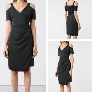 ALL SAINTS • Black Cadia Wrap Dress